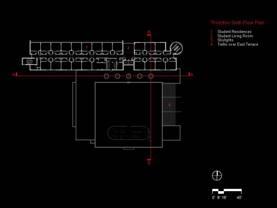 Third thru Sixth Floor Plan