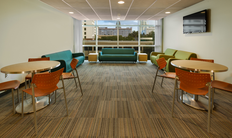 Typical Student Lounge at Residence Hall, view from elevators to north