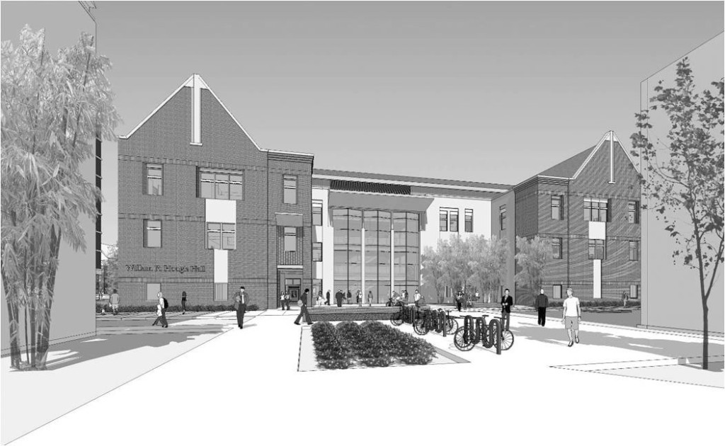 3D Study Model view of North Elevation from Bryan Hall and College of Business