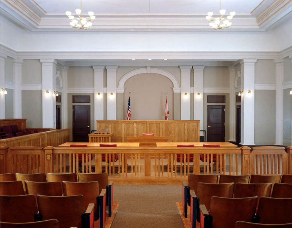 Courtroom towards Judge's Bench
