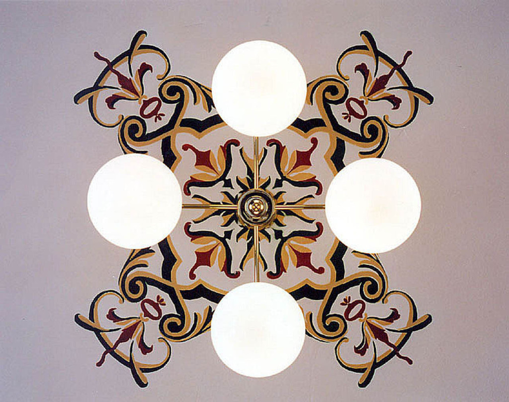 Light Fixture with Painted Stenciling