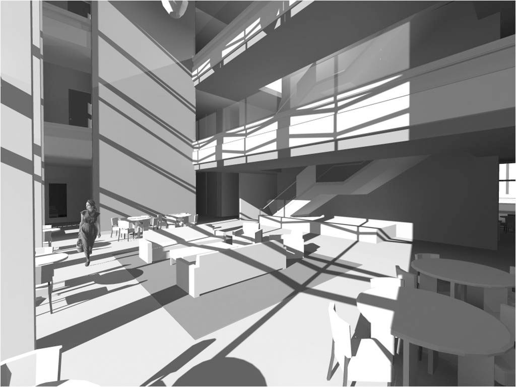 3D Study Model view at Ground Floor Court Interior