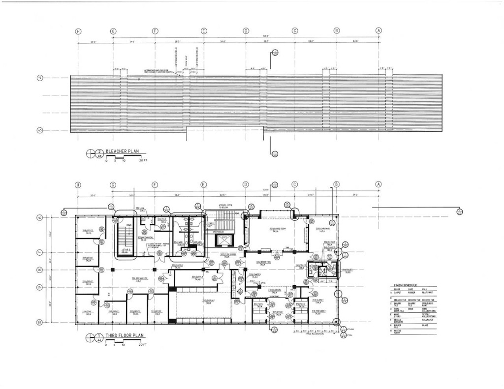 Third Floor and Bleachers Plans